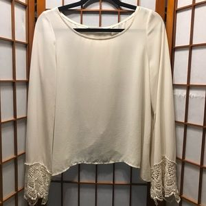 Lush Tulip Back Blouse With Lace Edge Bell Sleeves